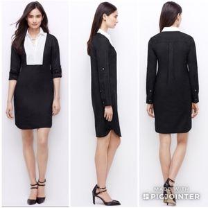 Ann Taylor Colorblock Bib Shirtdress Black & White